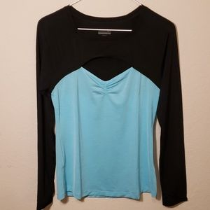 Danskin Long Sleeved Two Tone Athletic  Shirt